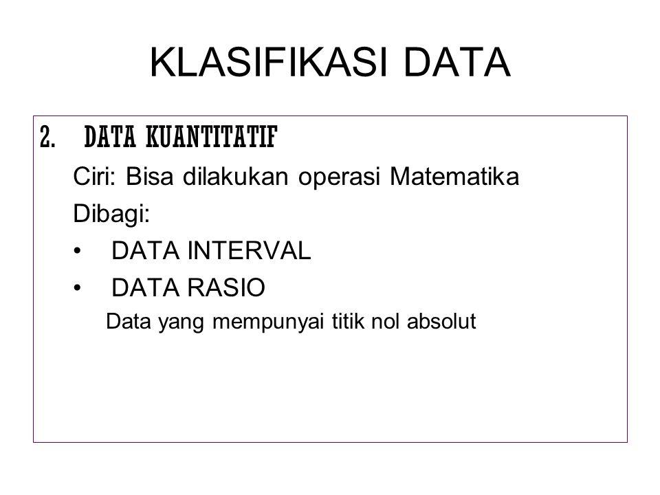 KLASIFIKASI DATA DATA KUANTITATIF