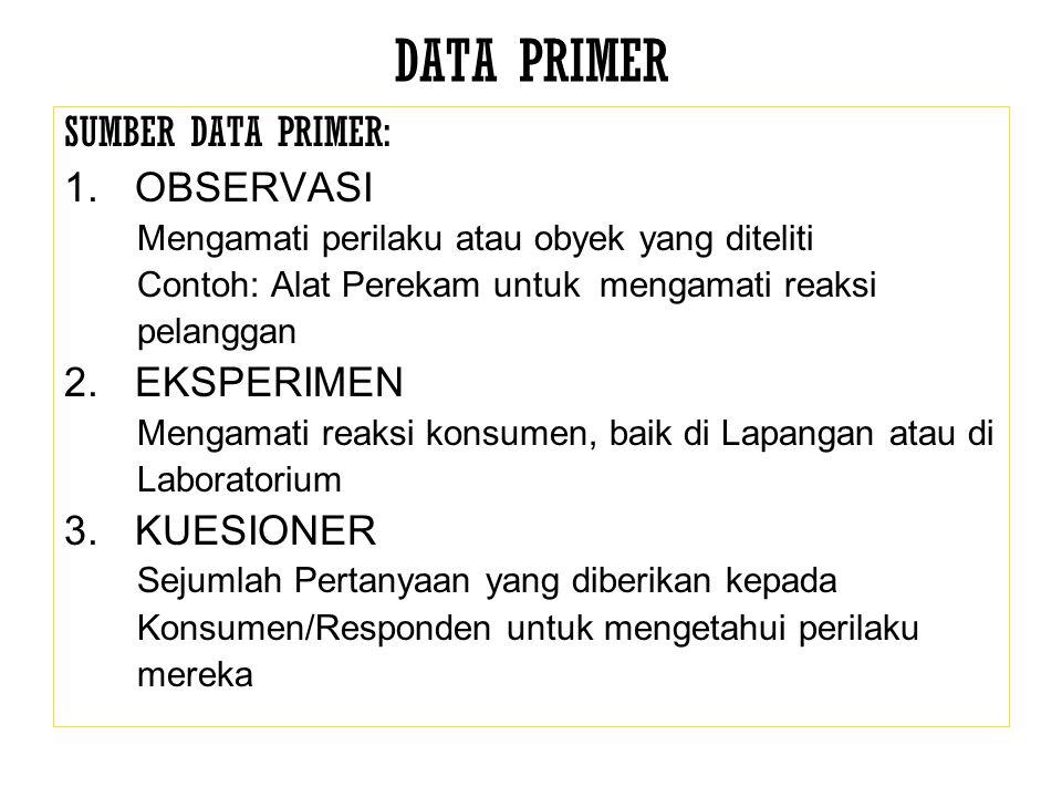 DATA PRIMER SUMBER DATA PRIMER: OBSERVASI EKSPERIMEN KUESIONER
