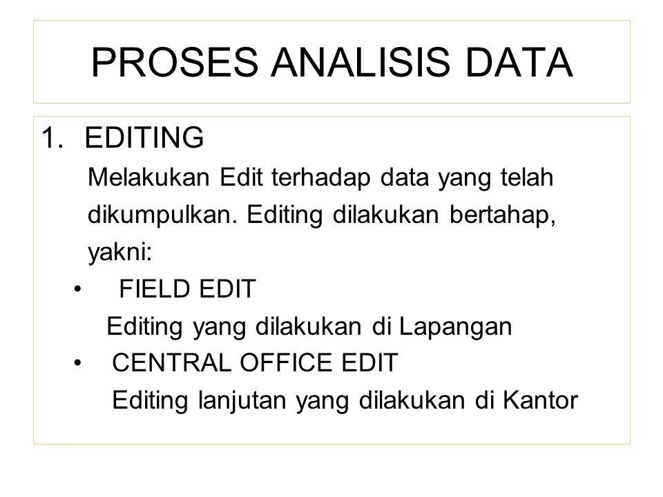 PROSES ANALISIS DATA EDITING Melakukan Edit terhadap data yang telah