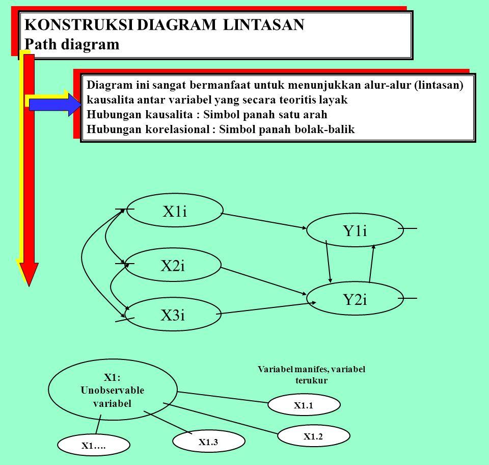 Unobservable variabel Variabel manifes, variabel terukur