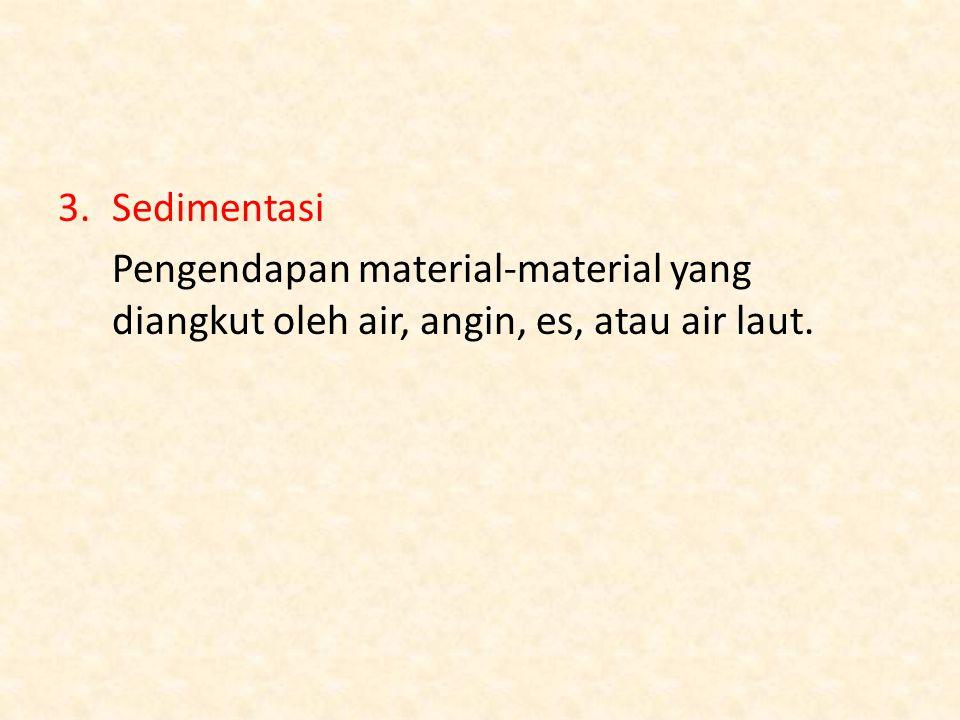 Sedimentasi Pengendapan material-material yang diangkut oleh air, angin, es, atau air laut.