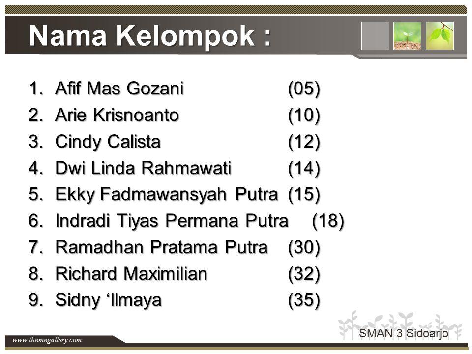 Nama Kelompok : Afif Mas Gozani (05) Arie Krisnoanto (10)