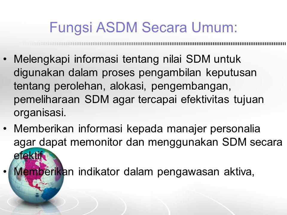 Fungsi ASDM Secara Umum: