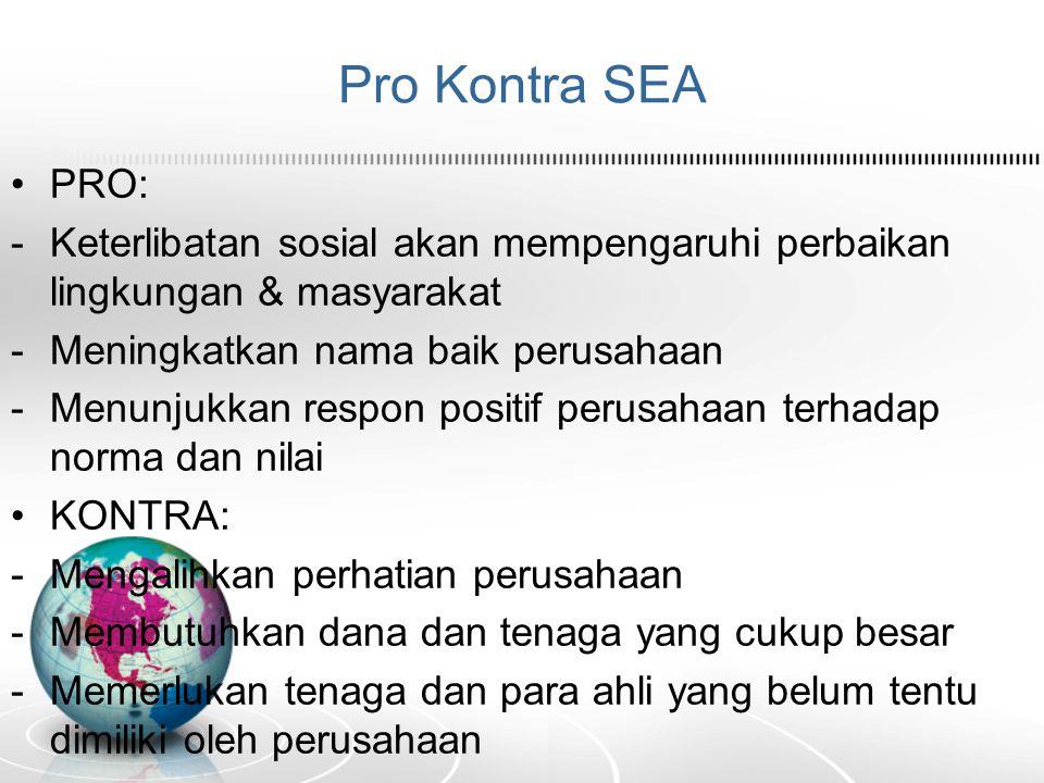 Pro Kontra SEA PRO: Keterlibatan sosial akan mempengaruhi perbaikan lingkungan & masyarakat. Meningkatkan nama baik perusahaan.