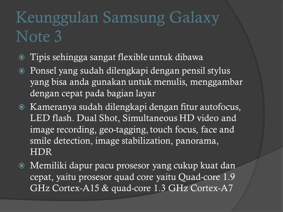 Keunggulan Samsung Galaxy Note 3