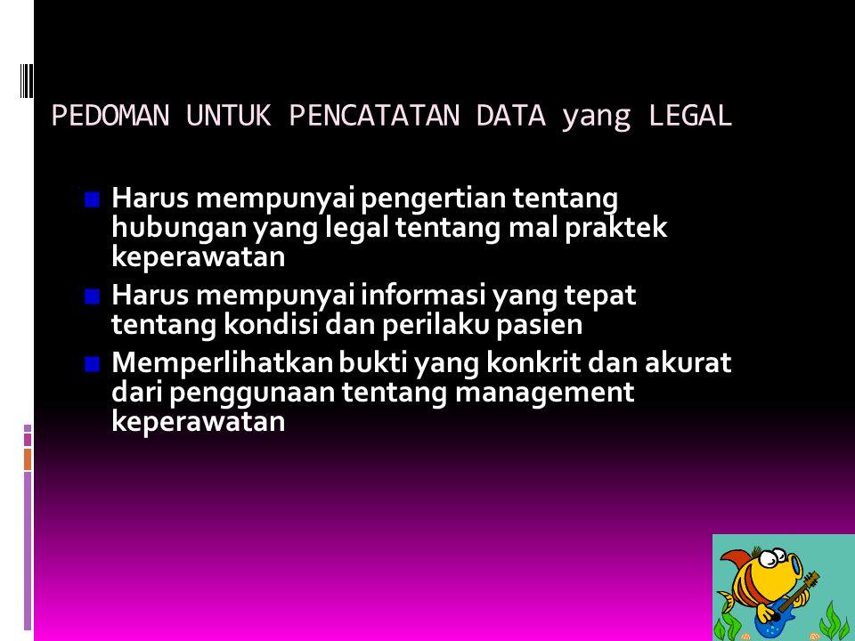 PEDOMAN UNTUK PENCATATAN DATA yang LEGAL