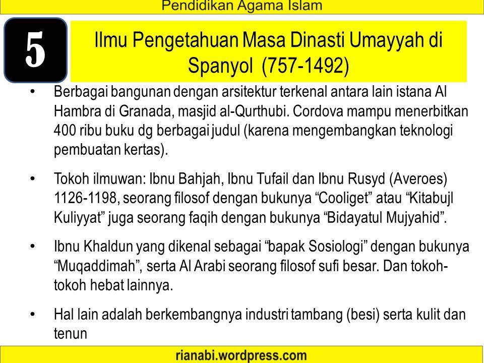 Ilmu Pengetahuan Masa Dinasti Umayyah di Spanyol (757-1492)