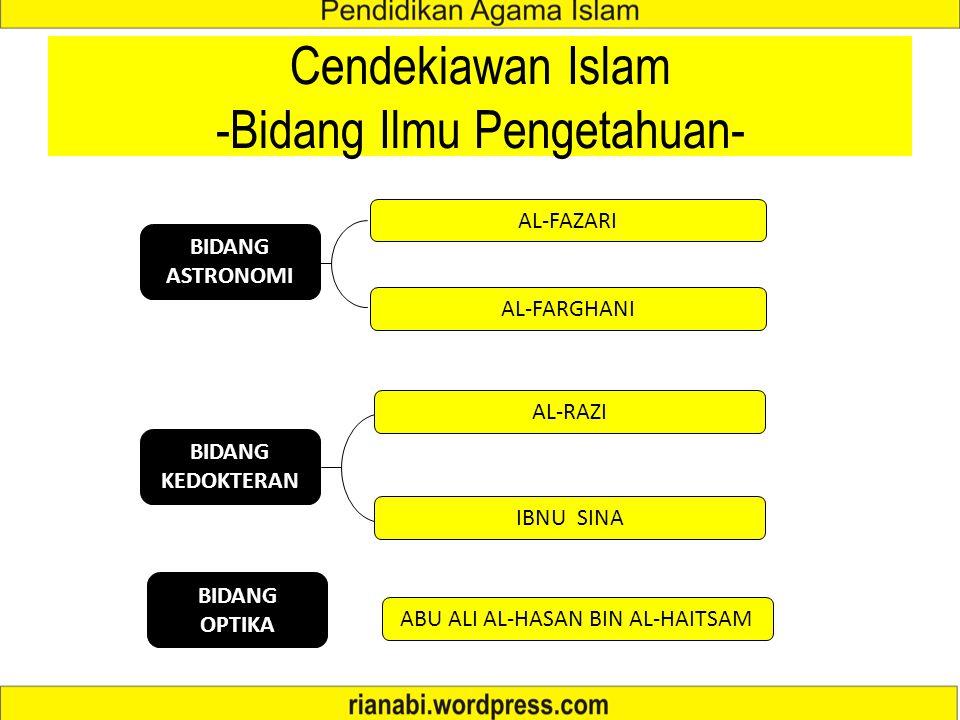 Cendekiawan Islam -Bidang Ilmu Pengetahuan-