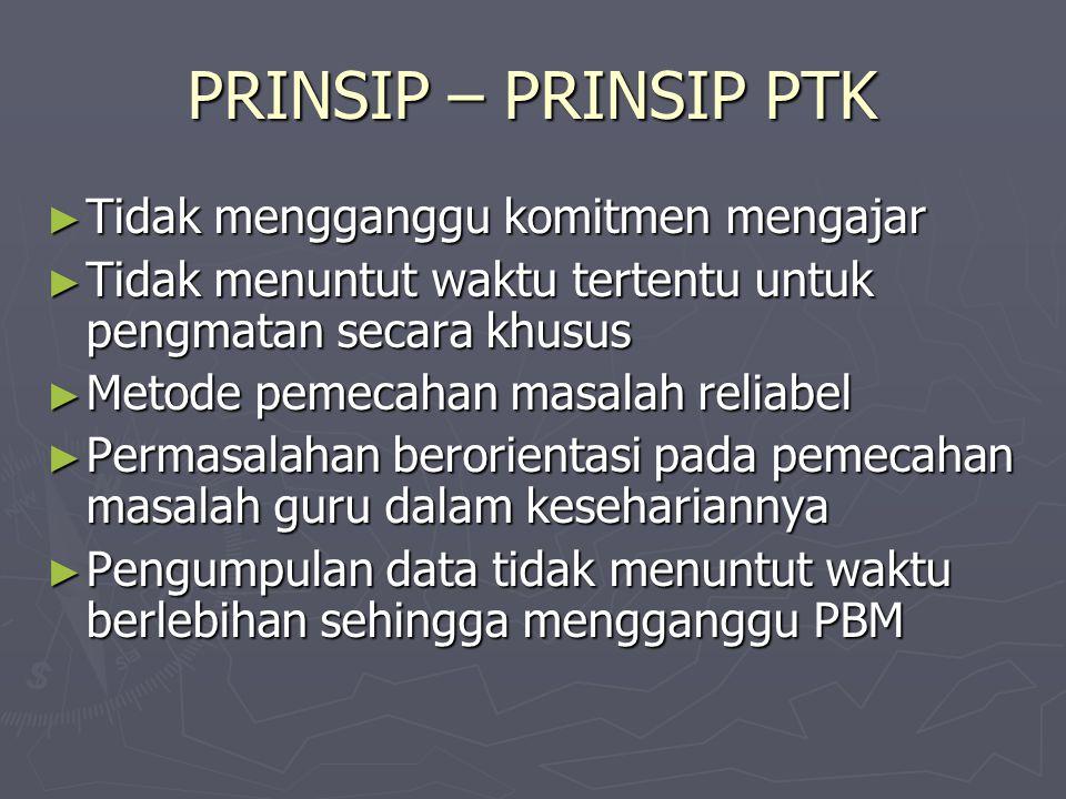 PRINSIP – PRINSIP PTK Tidak mengganggu komitmen mengajar