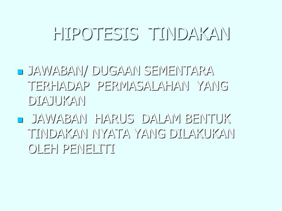 HIPOTESIS TINDAKAN JAWABAN/ DUGAAN SEMENTARA TERHADAP PERMASALAHAN YANG DIAJUKAN.