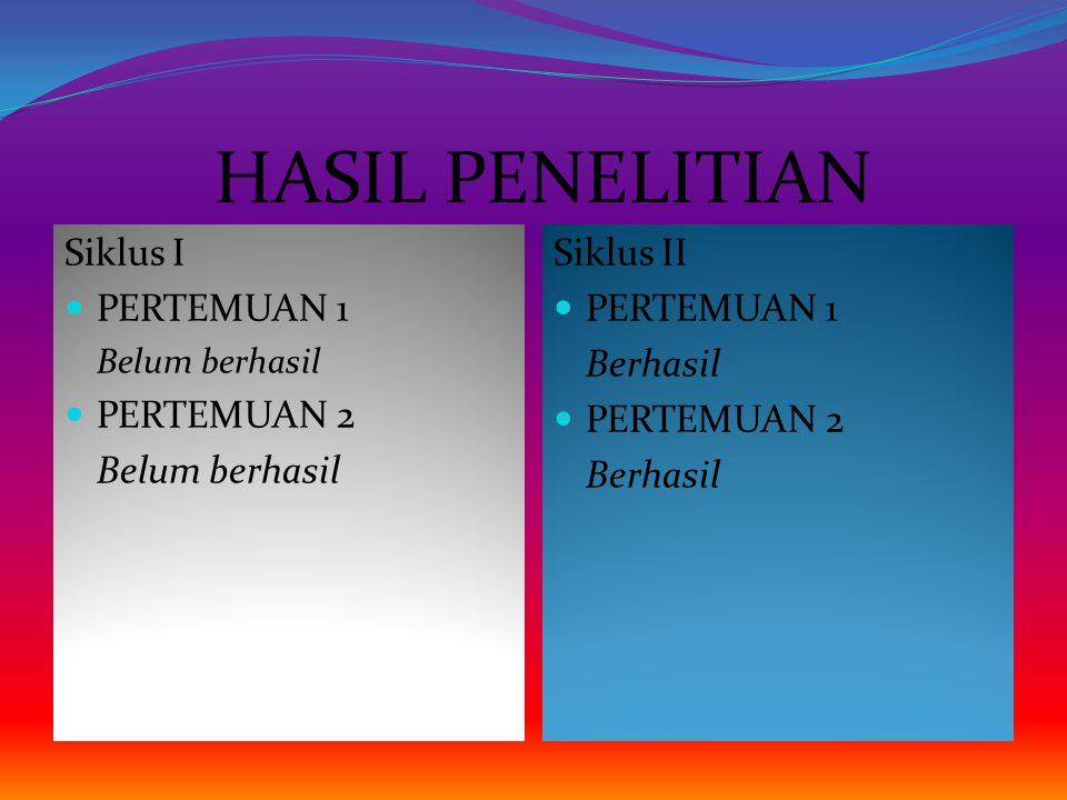 HASIL PENELITIAN Siklus I PERTEMUAN 1 PERTEMUAN 2 Siklus II