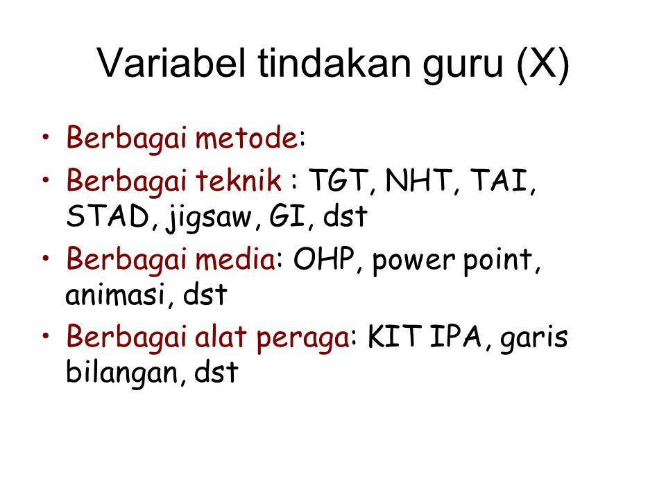Variabel tindakan guru (X)