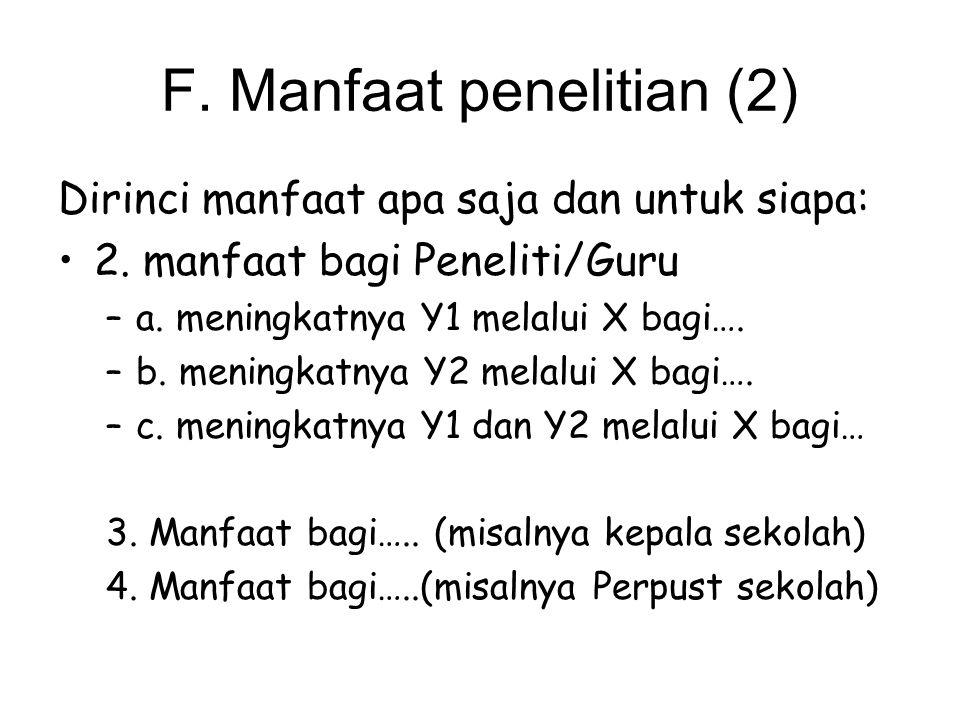 F. Manfaat penelitian (2)