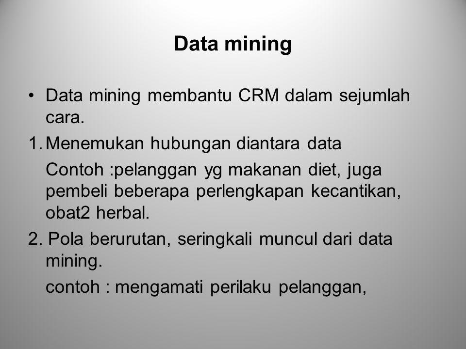 Data mining Data mining membantu CRM dalam sejumlah cara.
