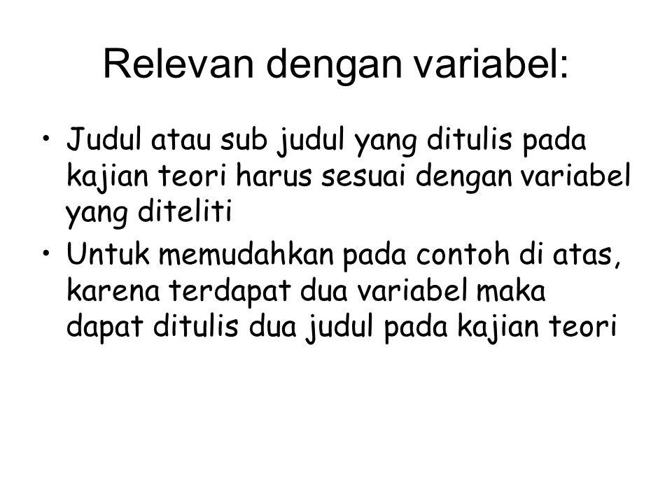 Relevan dengan variabel: