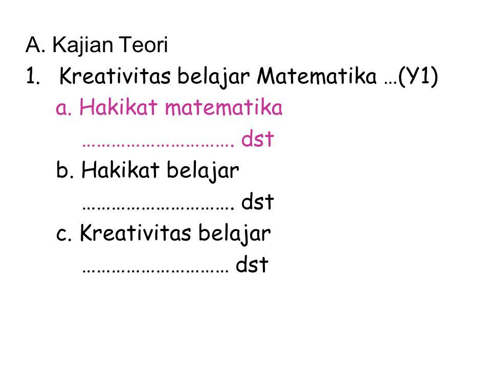 A. Kajian Teori Kreativitas belajar Matematika …(Y1) a. Hakikat matematika. …………………………. dst. b. Hakikat belajar.
