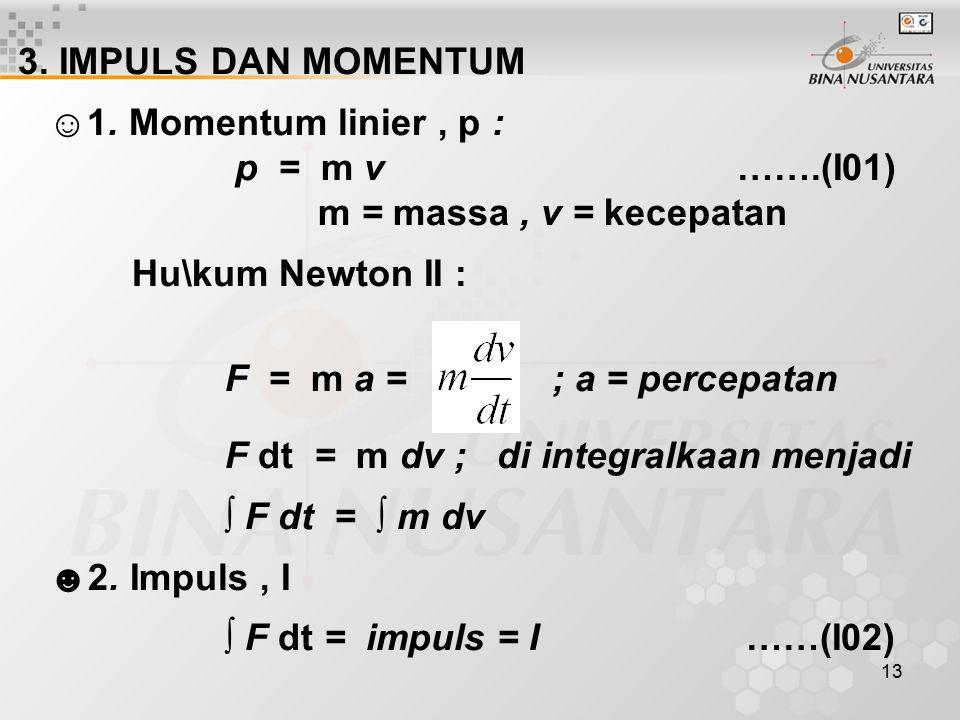 3. IMPULS DAN MOMENTUM ☺1. Momentum linier , p : p = m v …….(I01)