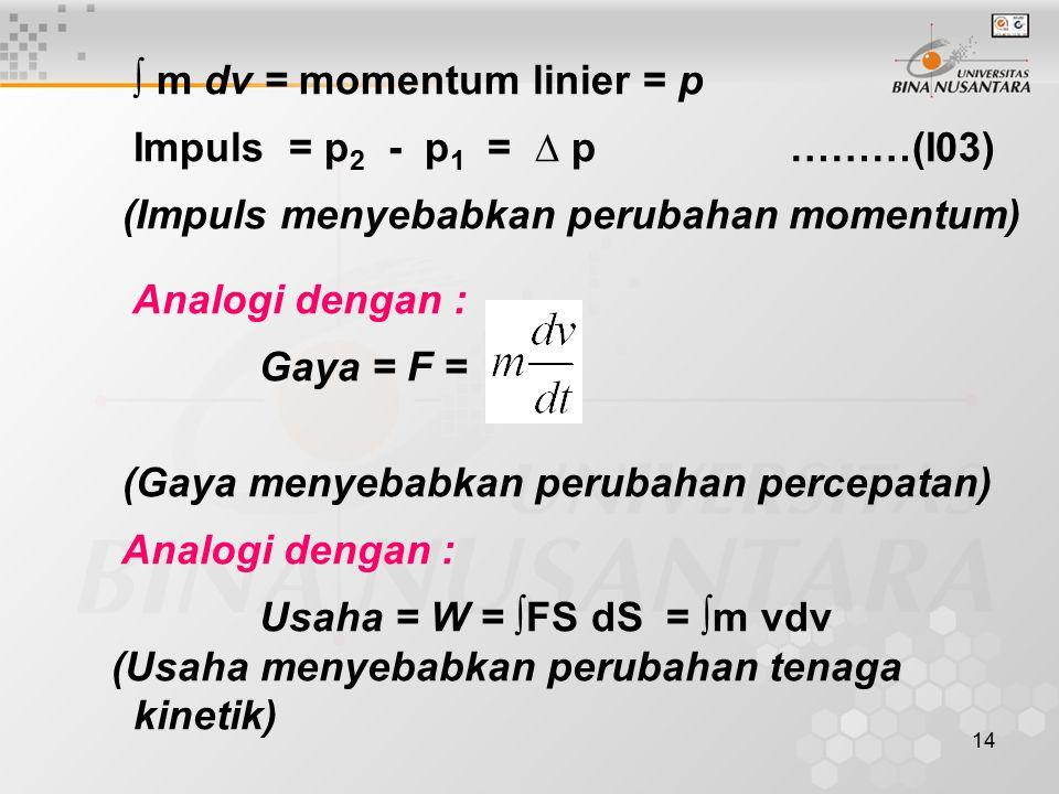 ∫ m dv = momentum linier = p