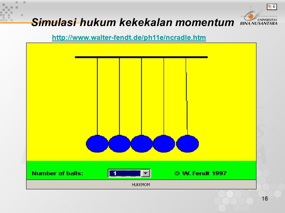 Simulasi hukum kekekalan momentum