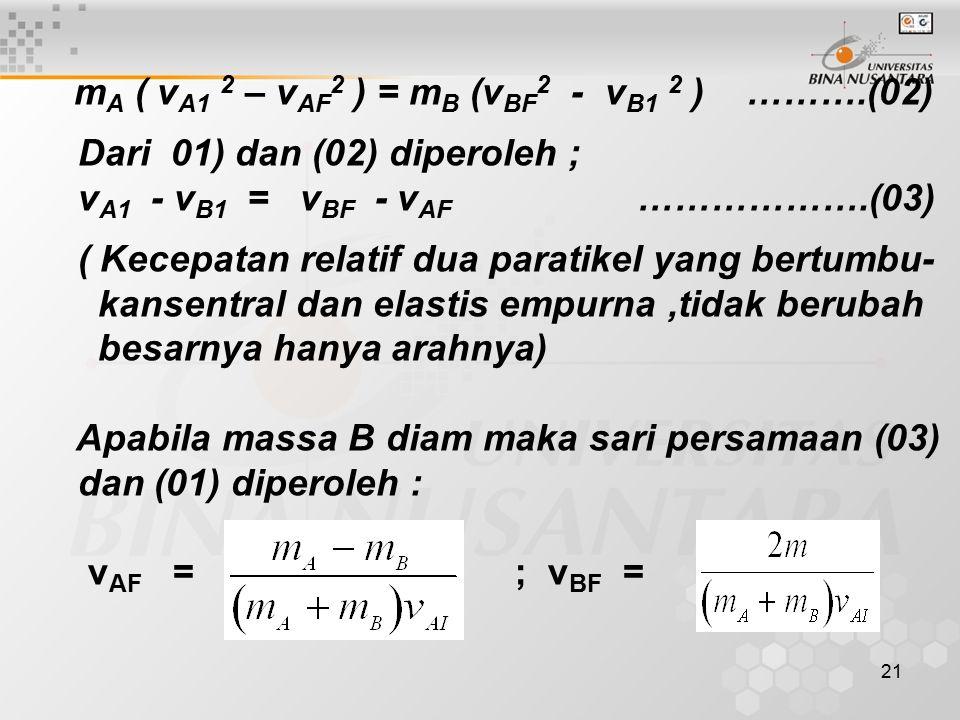 mA ( vA1 2 – vAF2 ) = mB (vBF2 - vB1 2 ) ……….(02)