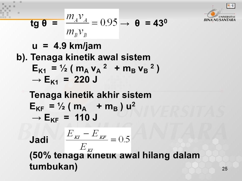 b). Tenaga kinetik awal sistem EK1 = ½ ( mA vA 2 + mB vB 2 )