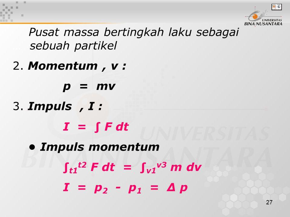 Pusat massa bertingkah laku sebagai … sebuah partikel