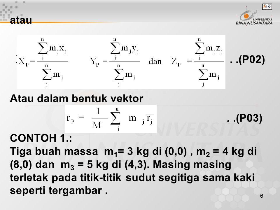atau XP yP zP . .(P02) Atau dalam bentuk vektor.