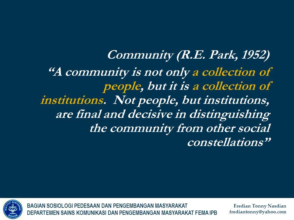 Community (R.E. Park, 1952)