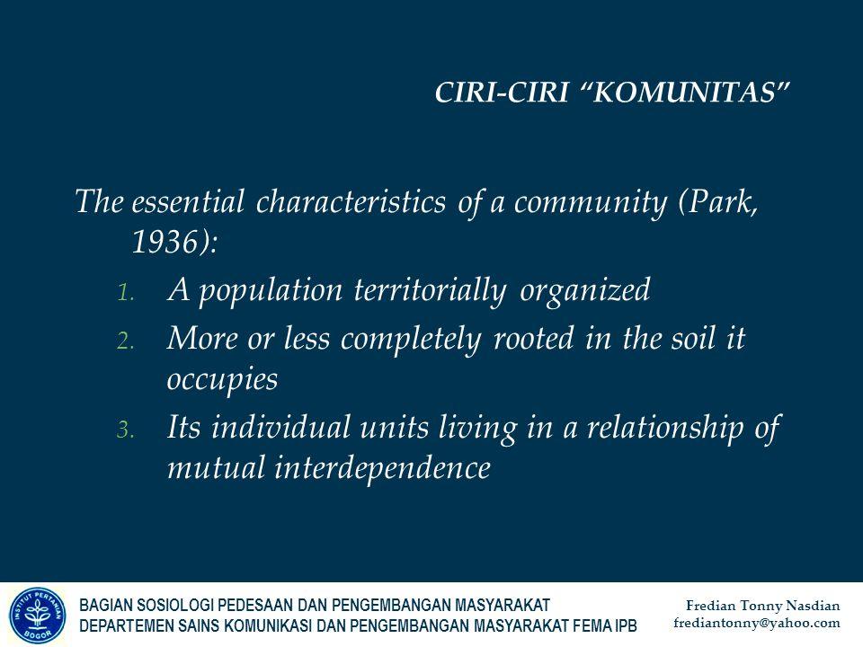 CIRI-CIRI KOMUNITAS