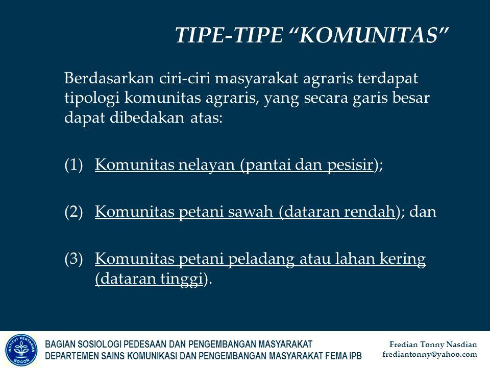 TIPE-TIPE KOMUNITAS