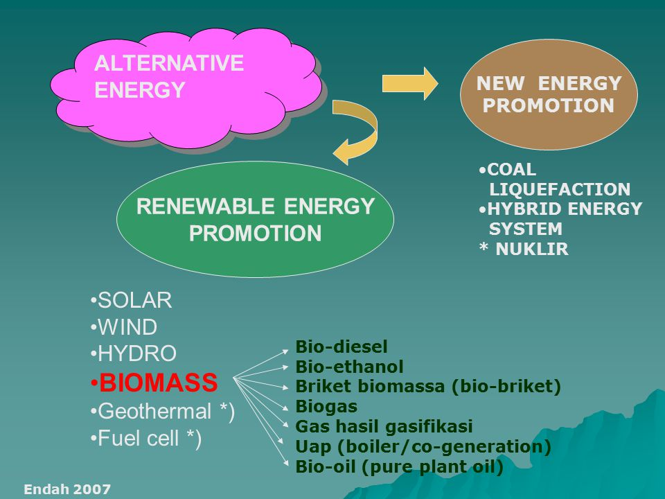 BIOMASS ALTERNATIVE ENERGY RENEWABLE ENERGY PROMOTION SOLAR WIND HYDRO
