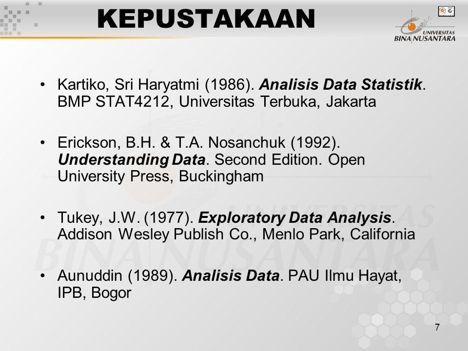KEPUSTAKAAN Kartiko, Sri Haryatmi (1986). Analisis Data Statistik. BMP STAT4212, Universitas Terbuka, Jakarta.
