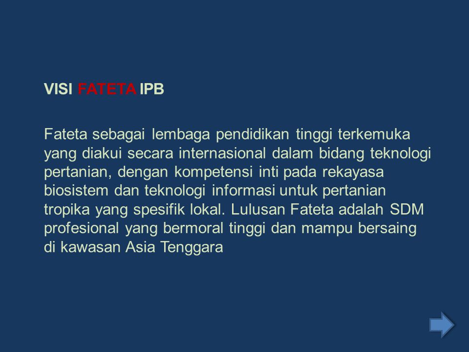 VISI FATETA IPB