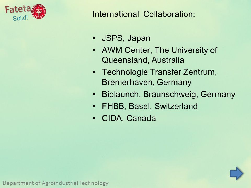 Fateta International Collaboration: JSPS, Japan