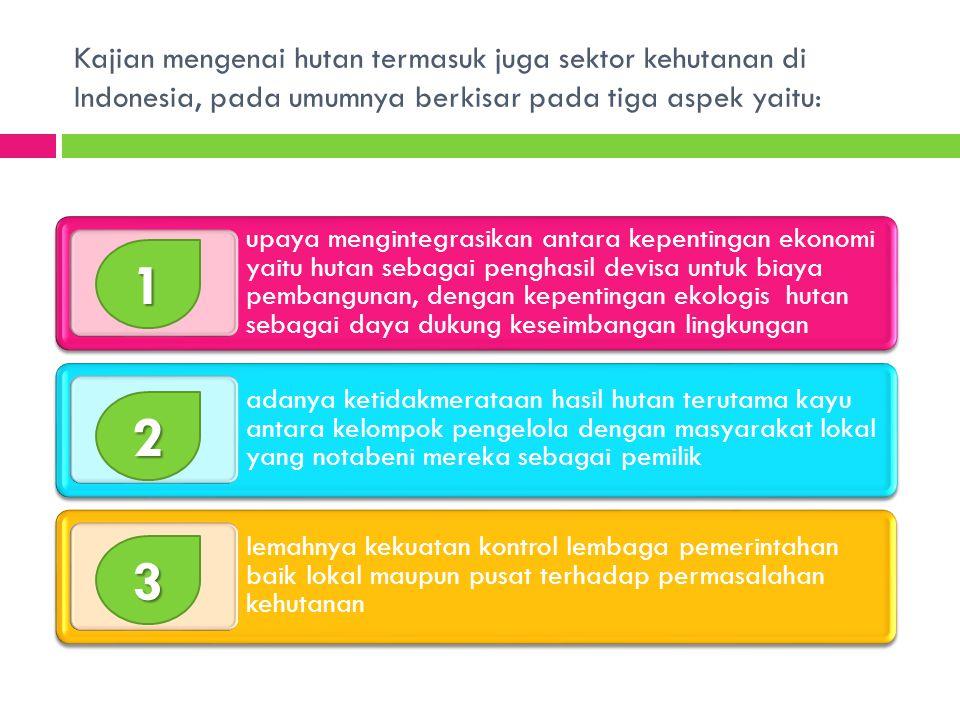 Kajian mengenai hutan termasuk juga sektor kehutanan di Indonesia, pada umumnya berkisar pada tiga aspek yaitu: