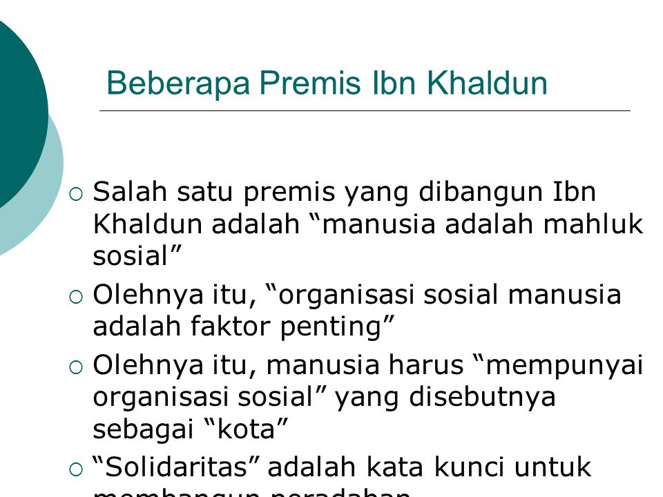 Beberapa Premis Ibn Khaldun