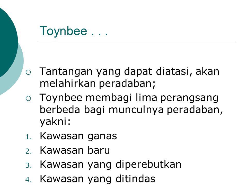Toynbee . . . Tantangan yang dapat diatasi, akan melahirkan peradaban;
