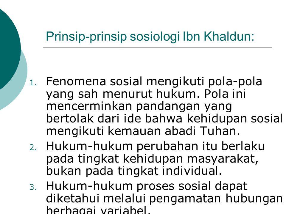 Prinsip-prinsip sosiologi Ibn Khaldun: