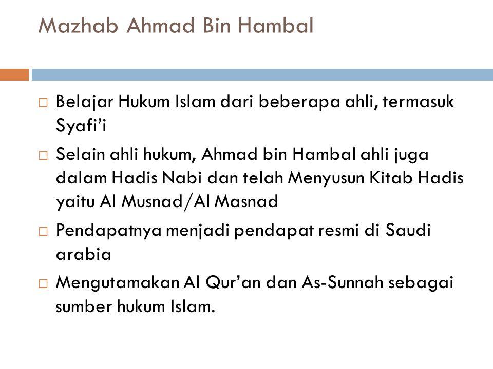Mazhab Ahmad Bin Hambal