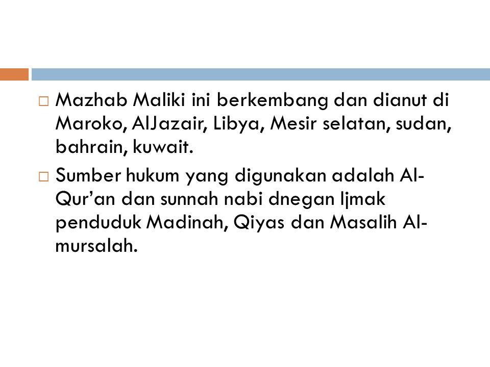 Mazhab Maliki ini berkembang dan dianut di Maroko, AlJazair, Libya, Mesir selatan, sudan, bahrain, kuwait.