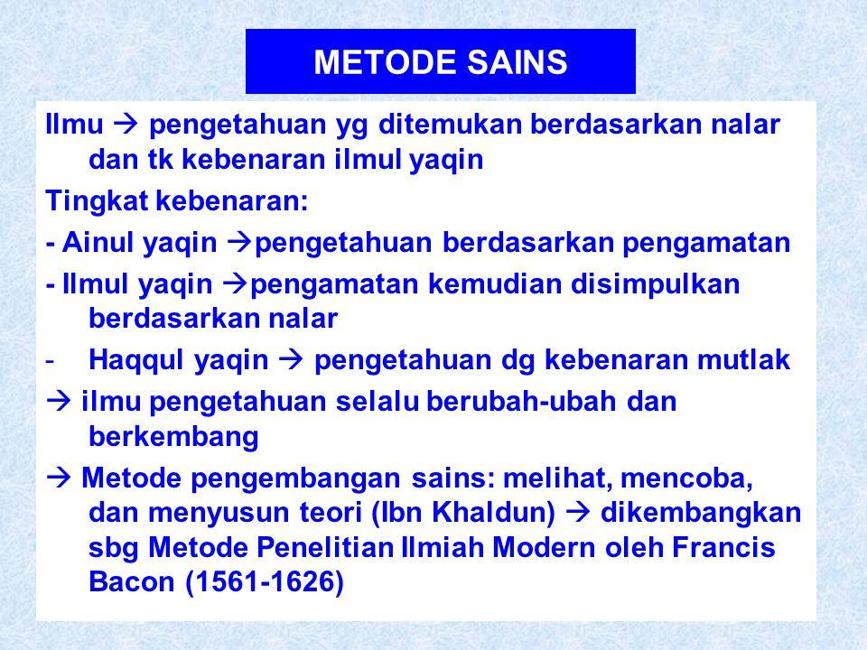 METODE SAINS Ilmu  pengetahuan yg ditemukan berdasarkan nalar dan tk kebenaran ilmul yaqin. Tingkat kebenaran: