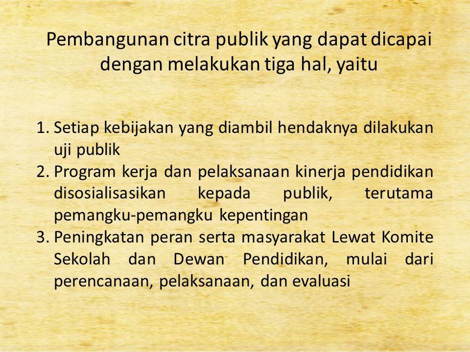 Pembangunan citra publik yang dapat dicapai dengan melakukan tiga hal, yaitu