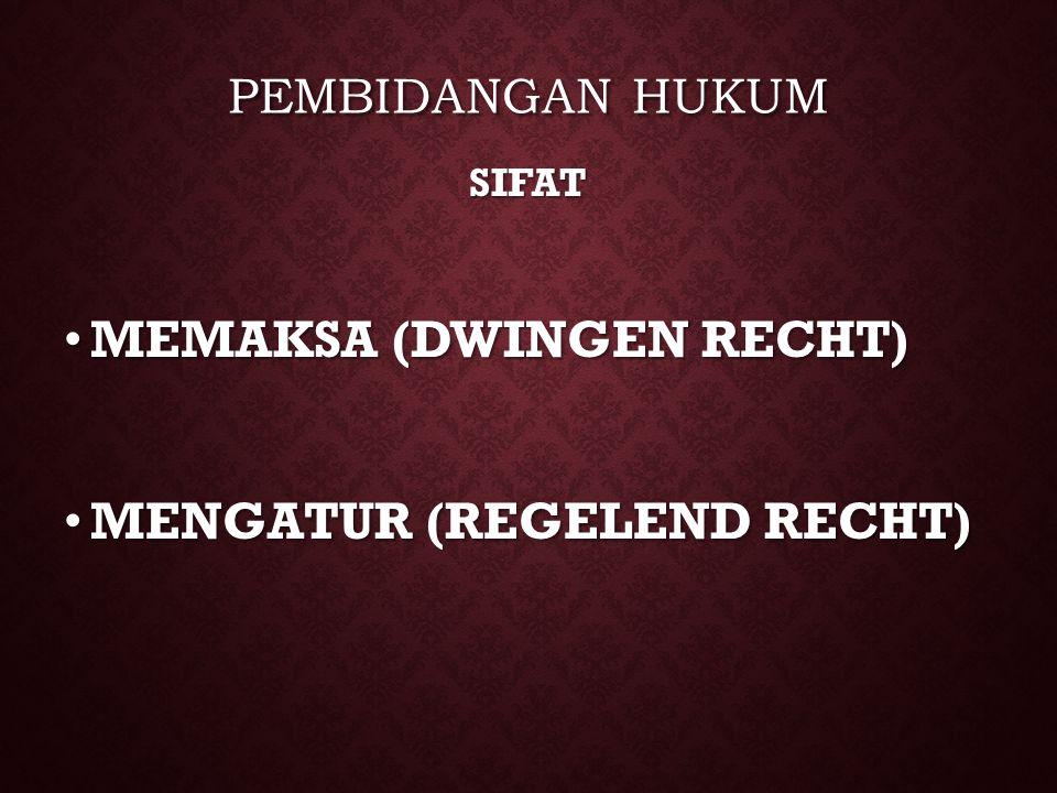 PEMBIDANGAN HUKUM. SIFAT. MEMAKSA (DWINGEN RECHT) MENGATUR (REGELEND