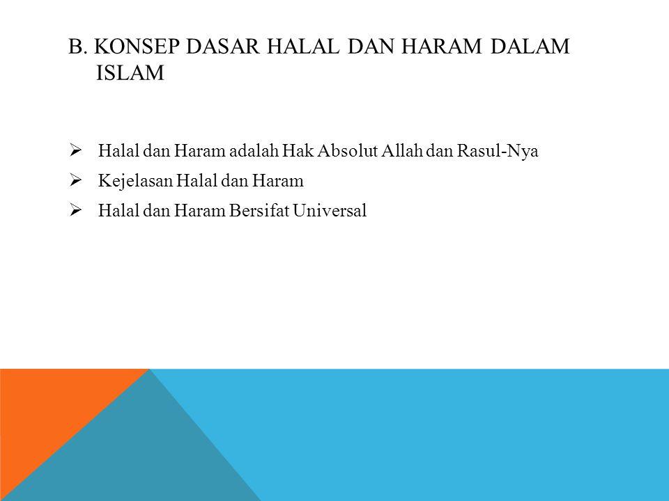 B. Konsep dasar halal dan haram dalam islam