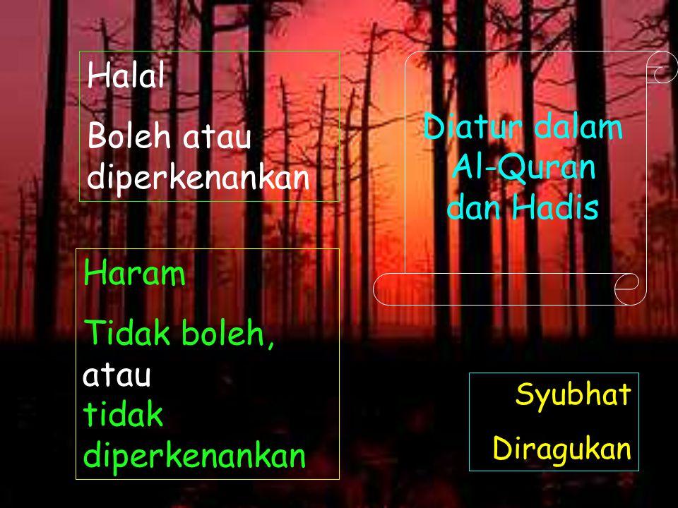 Boleh atau diperkenankan Diatur dalam Al-Quran dan Hadis