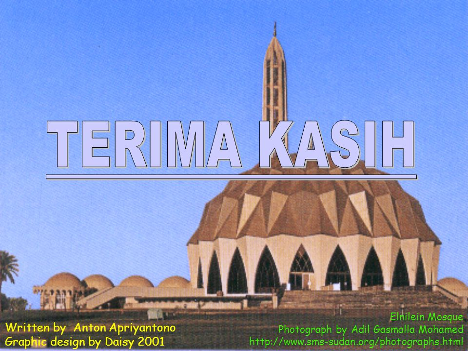 TERIMA KASIH Written by Anton Apriyantono Graphic design by Daisy 2001
