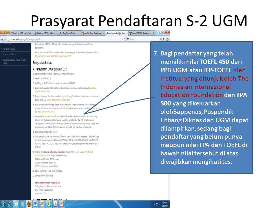 Prasyarat Pendaftaran S-2 UGM