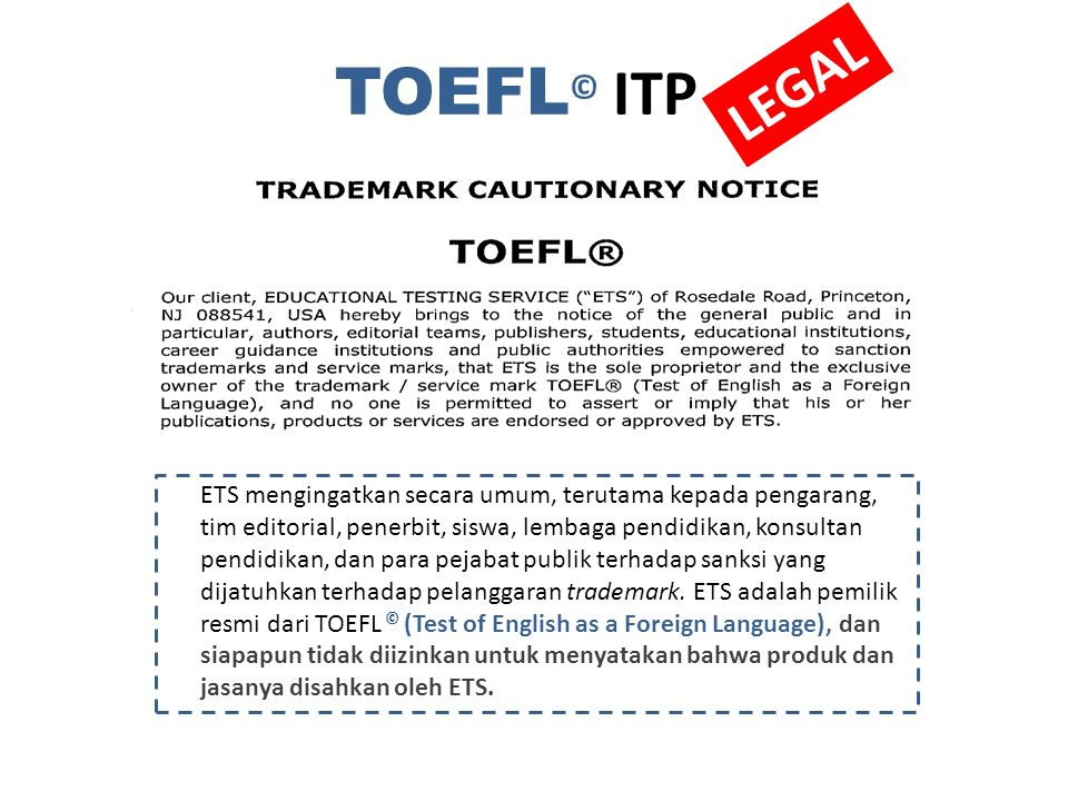 TOEFL© ITP LEGAL.