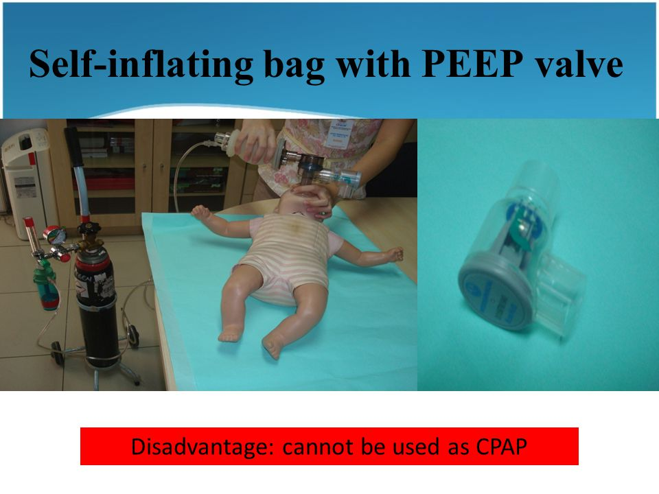 Self-inflating bag with PEEP valve