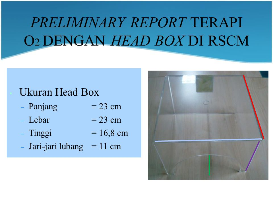 PRELIMINARY REPORT TERAPI O2 DENGAN HEAD BOX DI RSCM